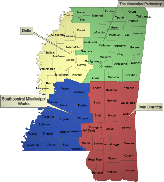 Twin Districts Workforce Development Area Map